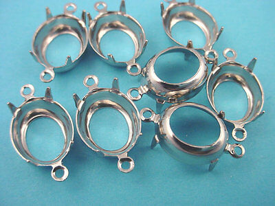 16 Silver Tone Oval Prong Settings 12x10 2 Ring open Back connectors