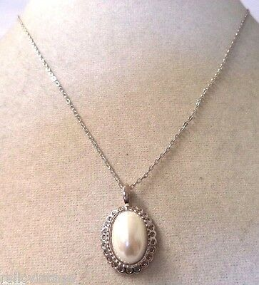 Stunning Vintage Estate Silver Tone Faux Pearl Cab Necklace!!! Wga3293