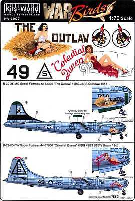 Kits World Decals 1/72 BOEING B-29 SUPERFORTRESS The Outlaw & Celestial Queen