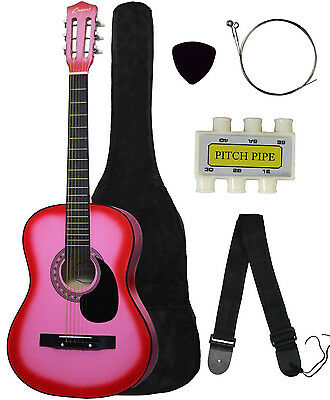 NEW Crescent beginner PINK Acoustic Guitar+GIGBAG+STRAP+TUNER+LESSON