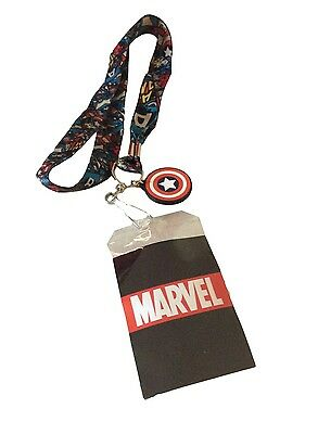 Marvel Comics Captain America Action Lanyard Keychain ID Holder With Charm