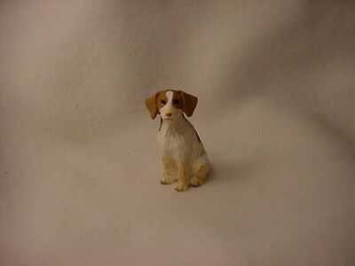 BRITTANY brown white puppy TiNY DOG Figurine HAND PAINTED MINIATURE Mini Statue