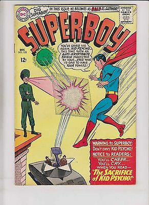 Superboy #125 FN+ december 1965 - silver age dc comics 1st appearance kid psycho