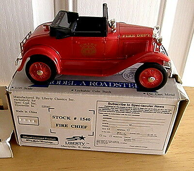 1990's Model A Roadster Die-Cast Bank M.i.b. Fire Chief's Car With Rumble Seat