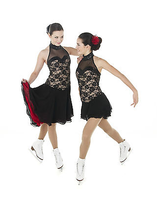 New Competition Skating Dress Elite Xpression 1407 Black BLACK LACE 12-14 CXL