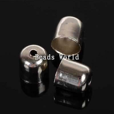 100 Pcs Silver Tone Blunt Necklace End Tip Bead Caps 8x7mm (Fit 6mm)