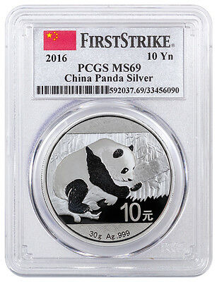 2016 China 10 Yuan 30 gram Silver Panda PCGS MS69 FS (First Strike) SKU38984
