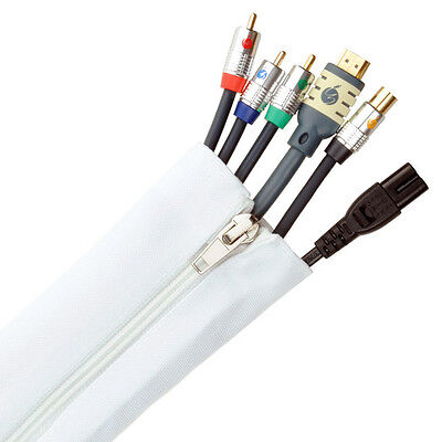 Fisual Zip Cable Tidy Wrap - 50mm Diameter - White - 2m