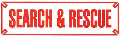 """SEARCH AND RESCUE Highly Reflective Vehicle Decal -  RED - size: 3"""" x 10"""""""
