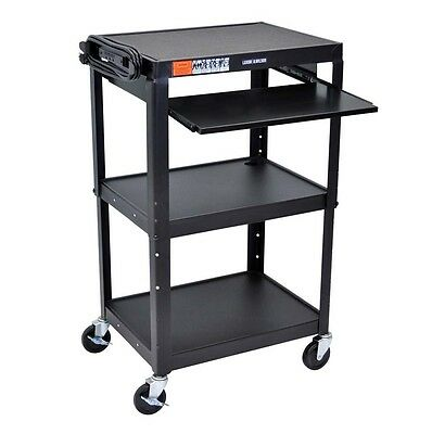 Luxor AVJ42KB Adj Height Steel Cart With Pullout Keyboard Tray - Black NEW