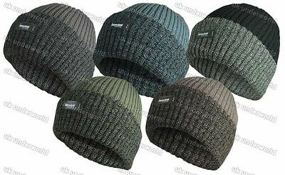 Mens Thermal 3m Thinsulate Insulated Lined Beanie Hat Chunky Knit Marl Turn Up