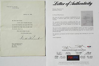 Franklin D. Roosevelt 32nd President U.S White House Letter Signed Authenticated