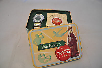 1988 Coca-Cola Coke Silhouette Girl Wrist Watch in Original Tin with Paperwork