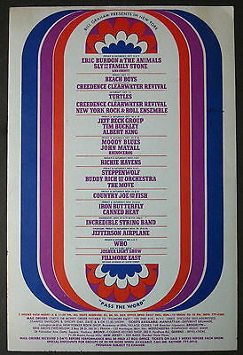 FILLMORE EAST 1968 CONCERT FLYER The Who BEACH BOYS Creedence BUCKLEY Jeff Beck