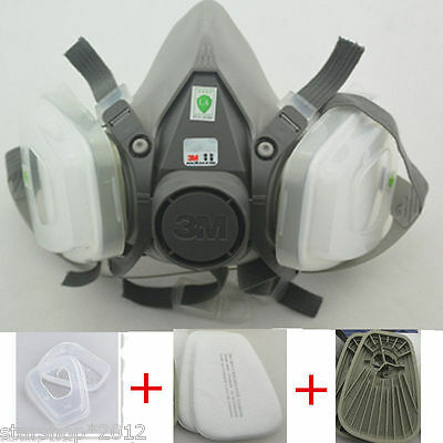 7in1 Set Half Face Facepiece Spraying Respirator For 3M 6200 N95 Paint Dust Mask