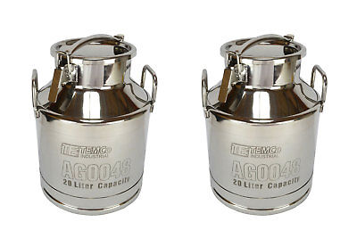 2x TEMCo 20 Liter 5.25 Gallon Stainless Steel Milk Can Wine Pail Bucket Tote Jug