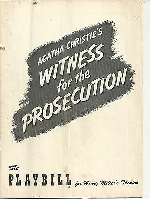 Playbill Agatha Christie's Witness for the Prosecution 1955 FREE SHIPPING []