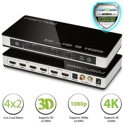 FosPower 4X2 4 In 2 Out 4K UHD 3D Ready HDMI MHL Matrix Selector Switch Splitter