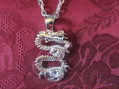 Silver Plated Diamond Cut Sand Blasted Dragon Charm Fashion Necklace