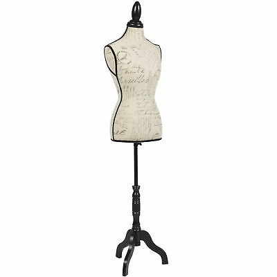 Female Mannequin Torso Dress Form Display W/ Black Tripod Stand Designer Pattern