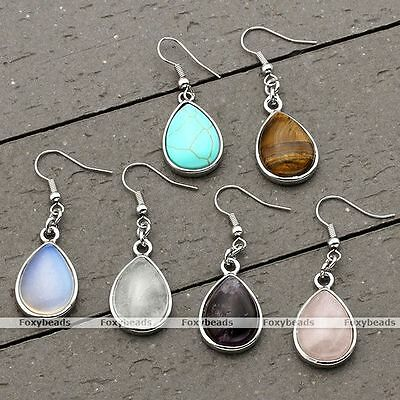 Women Silver Crystal Quartz Gemstone Ear Drop Dangle Hook Earrings Jewelry