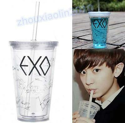 KPOP EXO Double Wall Tumbler Cup&Straw Travel Mug Thermo Coffee EXO Fans Gift