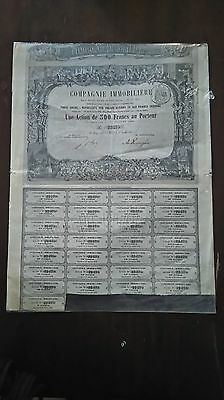 Action / Compagnie Immobiliere / Action De 500 Francs / Paris 1863