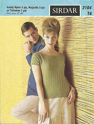 Vintage 1960's Knitting Pattern Lacy Summer Jumper