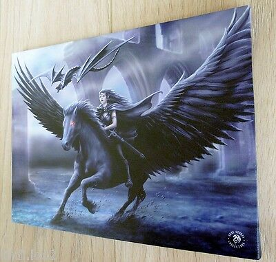 REALM OF DARKNESS~ BLACK PEGASUS & DRAGON WALL PLAQUE ~ ANNE STOKES 70cm x 50cm