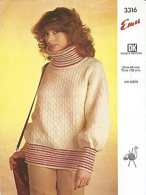 Vintage Knitting Pattern Women's Cosy High Neck Jumper