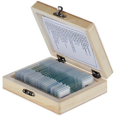 AmScope 25 Plant Animal Insect Prepared Glass Microscope Slides w/ Wooden Box