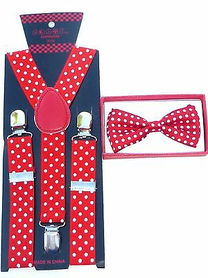 Red with white Polka Dots Toddler Bow tie and Suspenders Set Baby Boy Girl