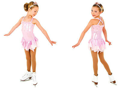 New Competition Skating Dress Elite Xpression 1454 Pink Silver Stars 12-14 CXL