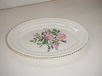 Harker Pottery China Royal Gadroon Wild Rose Pattern Oval Serving Platter