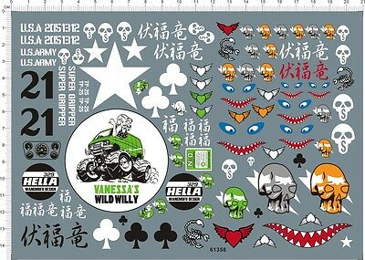 1/10 Scale WILD WILLY CUSTOM Skull Shark Jaw RC Model Water Slide Decal