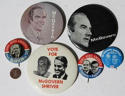 1972 Democratic George McGovern for President 6-SIX pin set with Eagleton jugate