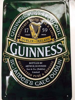 """Guinness Dark Green logo on metal sign 12"""" x 8"""" inches"""