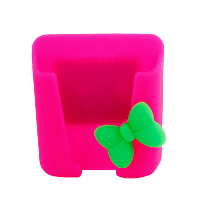 Car Red Bowknot Decor Green Silicone Adhesive Tape Phone Holder