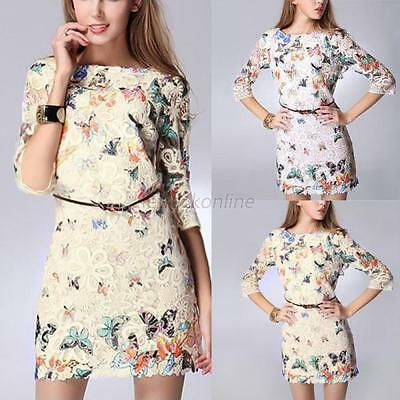 Stylish Women's Summer Sexy Butterfly Lace Casual Short Evening Party Mini Dress