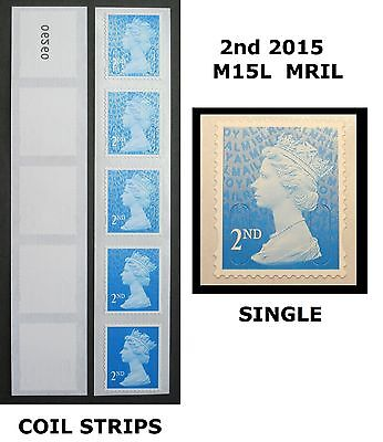 2015 - MRIL - M15L - 2nd Class Single Stamp or Strips from 10,000 COIL, CODE R