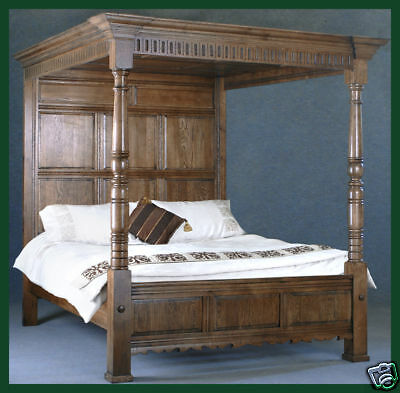 Solid Oak Four Poster King Size Bed Antique Style