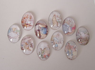 10 Beatrix Potter Peter Rabbit Glass Cabochons Oval 25mm x 18mm Crafts