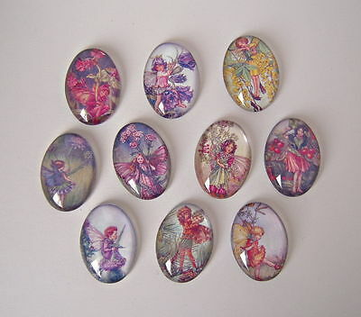 10 Flower Fairies Glass Cabochons Oval 25mm x 18mm Crafts Jewellery Making