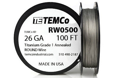 TEMCo Titanium Wire 26 Gauge 100 FT Surgical Grade 1 Resistance AWG ga