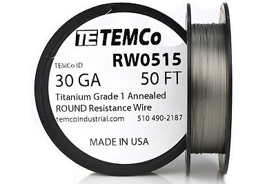 TEMCo Titanium Wire 30 Gauge 50 FT Surgical Grade 1 Resistance AWG ga