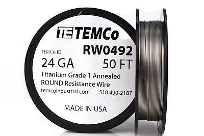 TEMCo Titanium Wire 24 Gauge 50 FT Surgical Grade 1 Resistance AWG ga