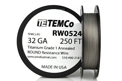 TEMCo Titanium Wire 32 Gauge 250 FT Surgical Grade 1 Resistance AWG ga