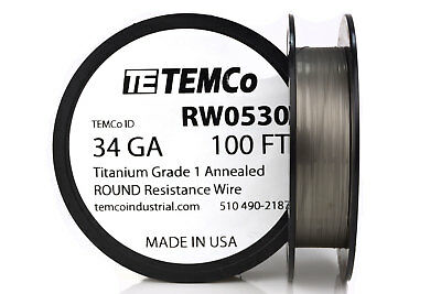 TEMCo Titanium Wire 34 Gauge 100 FT Surgical Grade 1 Resistance AWG ga