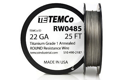 TEMCo Titanium Wire 22 Gauge 25 FT Surgical Grade 1 Resistance AWG ga