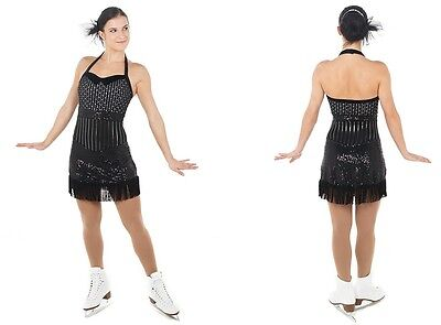 New Competition Figure Skating Dress Elite Xpression 1449 Black Silver CL 10-12